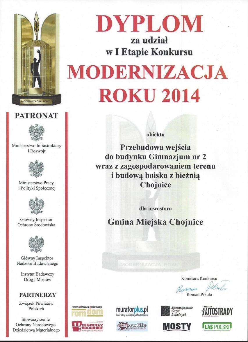 Dyplom za udział w I Etapie Konkursu Modernizacja Roku 2014
