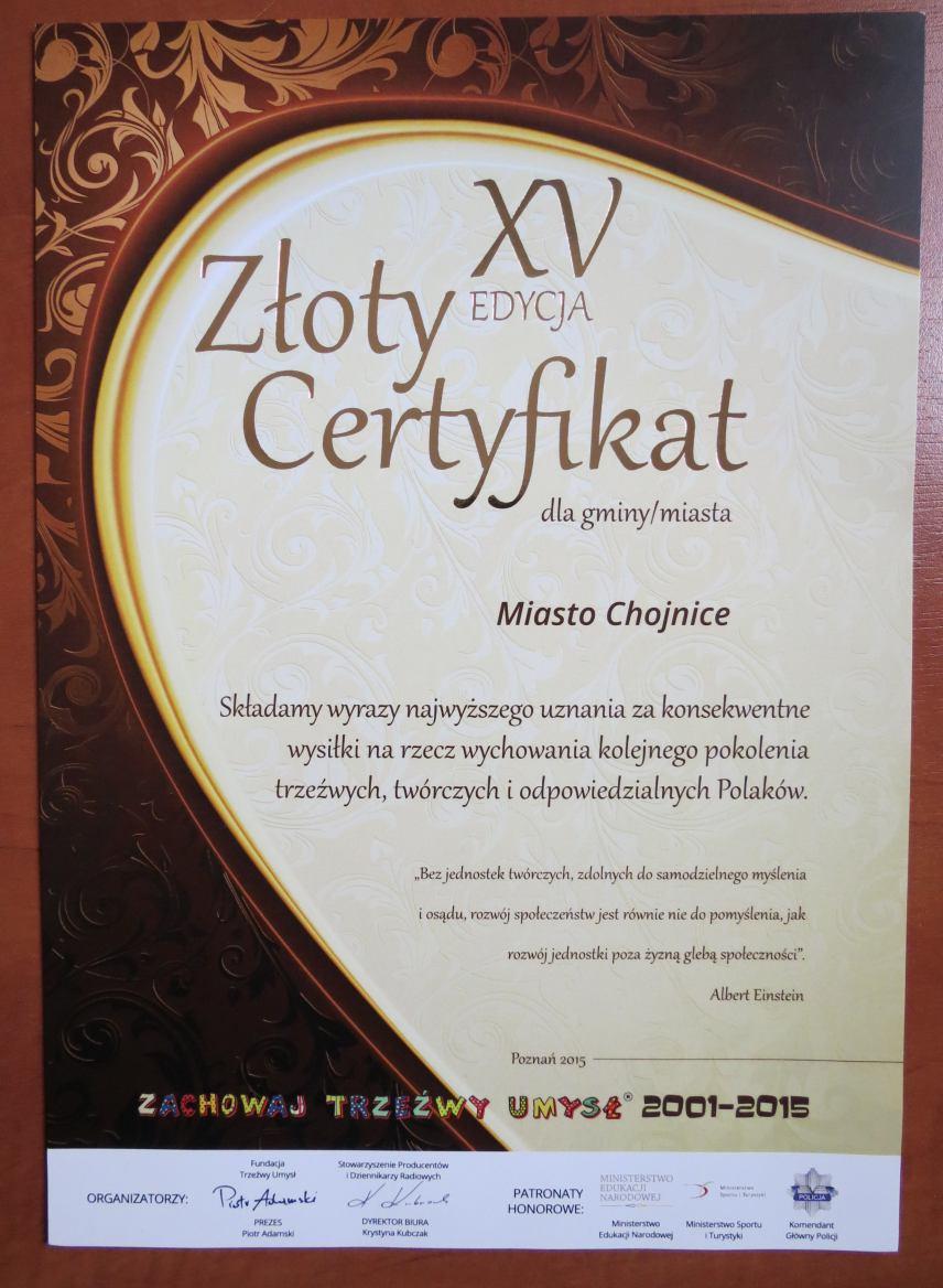 Złoty Certyfikat dla Miasta Chojnice