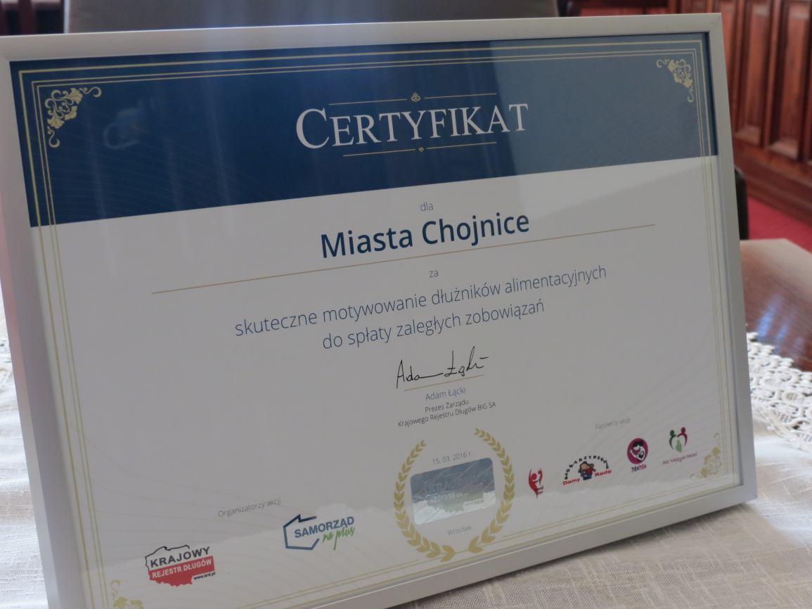 Wyróżnienie dla Miasta Chojnice
