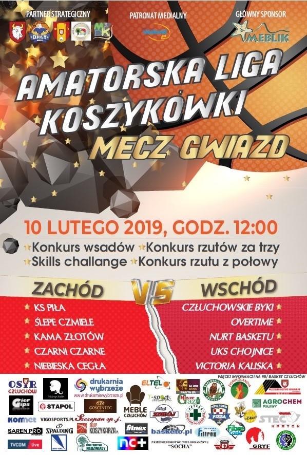 W niedzielę (10.02) Mecz Gwiazd Człuchowskiej Amatorskiej Ligi Koszykówki