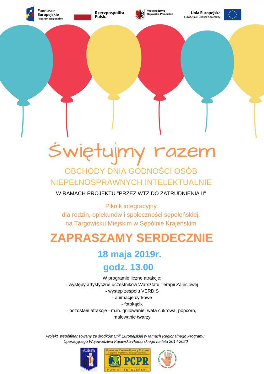 W Sępólnie Krajeńskim dziś (18.05) obchody Dnia Godności Osób Niepełnosprawnych Intelektualnie