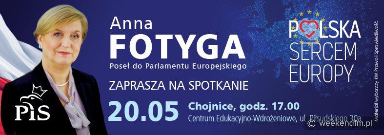Dziś w Chojnicach spotkanie z europosłanką Anną Fotygą