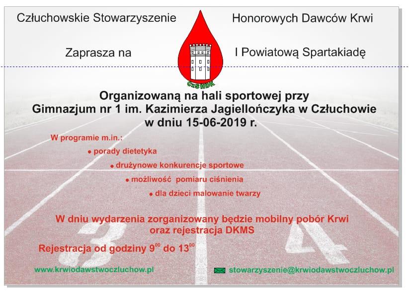 Powiatowa Spartakiada Honorowych Dawców Krwi i Stowarzyszeń to nowa impreza, która odbędzie się w ramach Dni Człuchowa