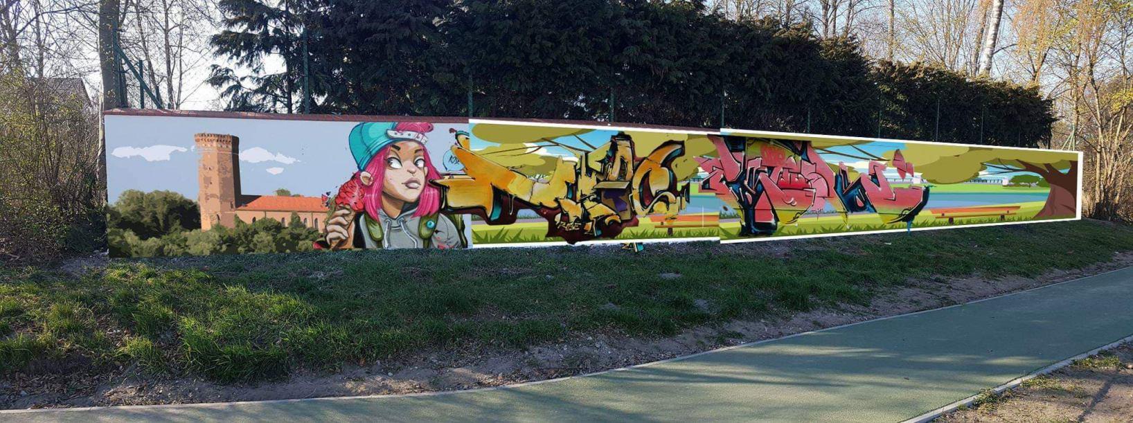 Graffiti o Człuchowie z wieżą zamkową w tle