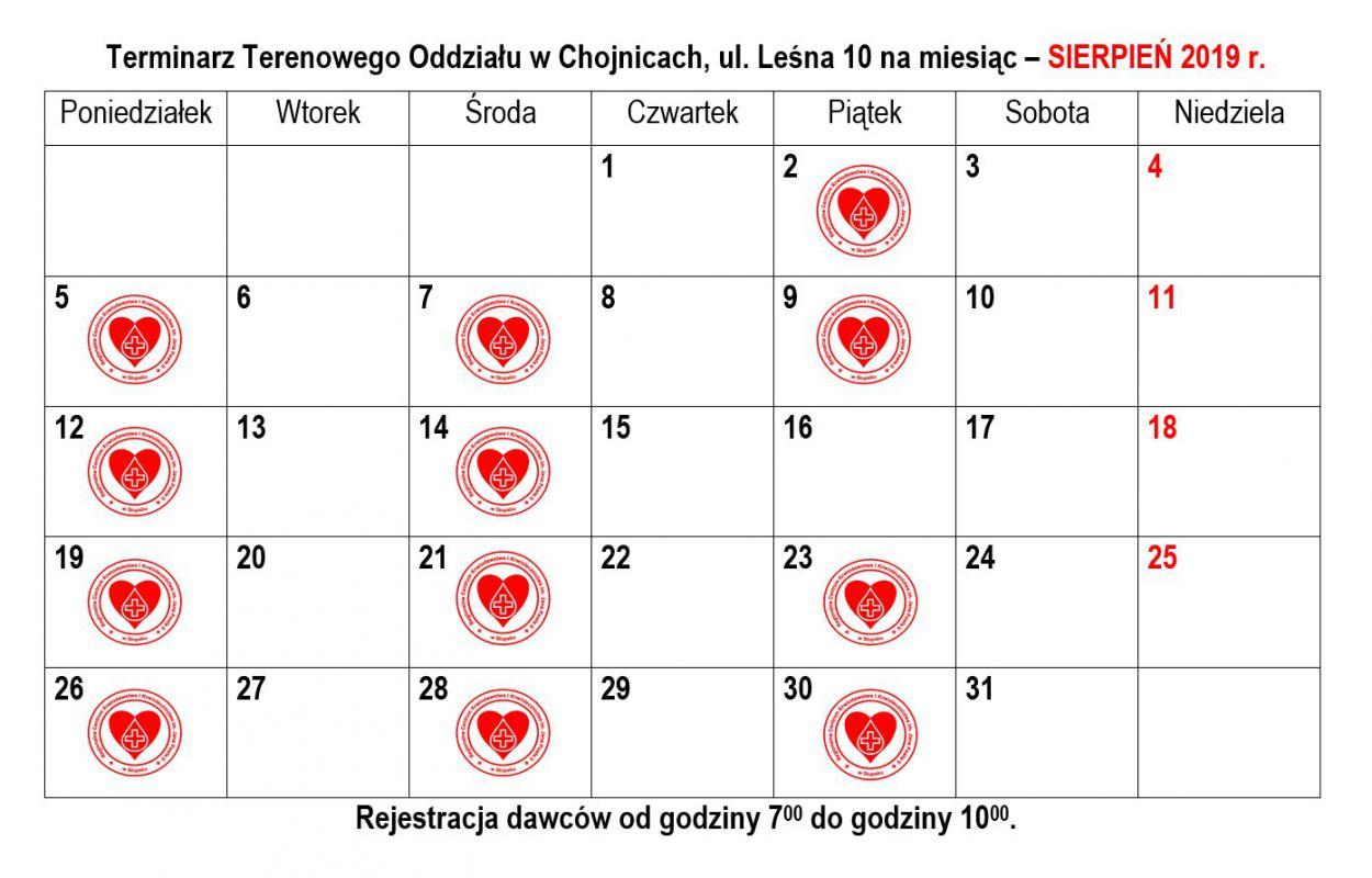 Terminarz Terenowego Oddziału Krwiodawstwa w Chojnicach