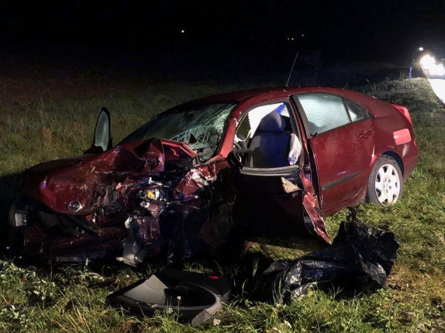 Czołowe zderzenie na drodze krajowej nr 25 w miejscowości Zamarte na trasie Chojnice - Sępólno