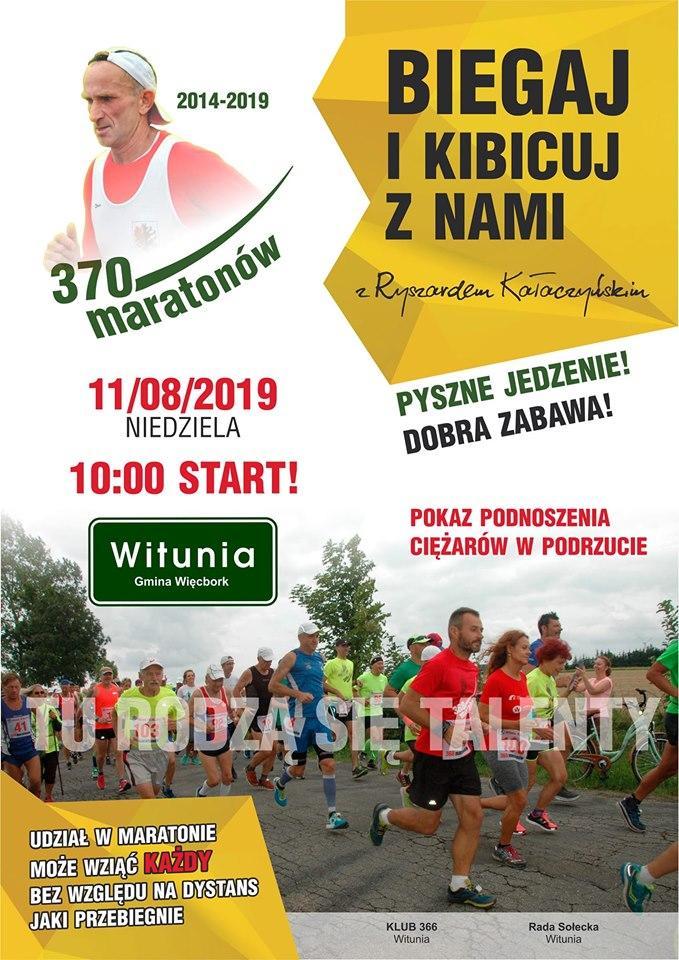 Dzisiaj 370. maraton Ryszarda Kałaczyńskiego, biegacza z Wituni koło Więcborka