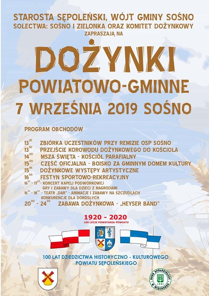 Dziś 7.09 w Sośnie odbędą się dożynki powiatu sępoleńskiego
