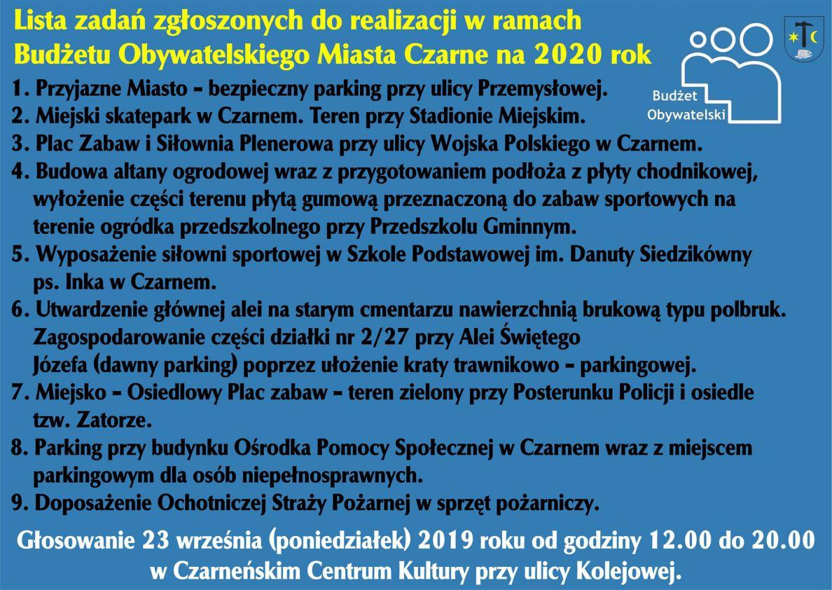 Dziewięć propozycji zgłoszonych do budżetu obywatelskiego w Czarnem