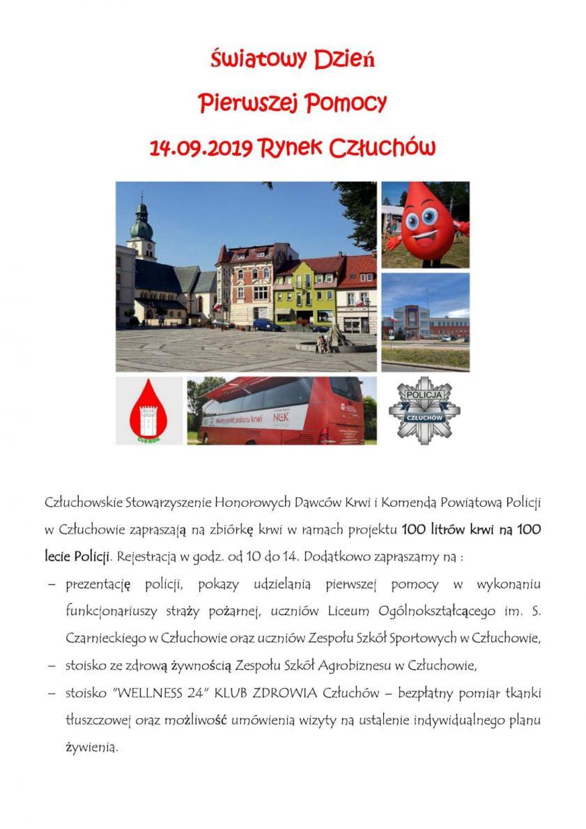 Jutro (14.09) na Rynku Miejskim w Człuchowie festyn z okazji Światowego Dnia Pierwszej Pomocy
