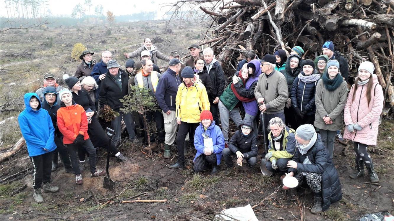 Akcja sadzenia lasu przy tartaku w Rytlu. To tam miał powstać duży zakład przetwórstwa drzewnego