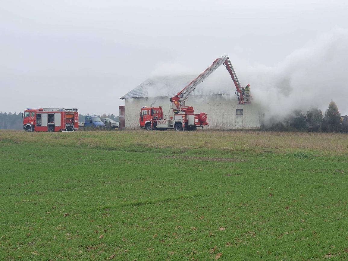 Pożar budynku gospodarczego w Będominie. Z żywiołem walczyło 7 zastępów straży pożarnej