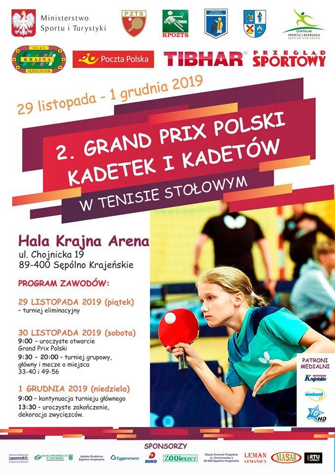 W Sępólnie Krajeńskim rusza dziś 29.11. 2. Grand Prix Polski kadetek i kadetów w tenisie stołowym