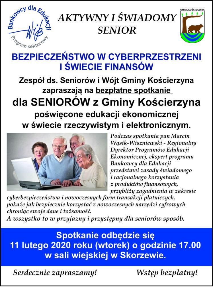 Spotkanie dla seniorów z gminy Kościerzyna. Będzie mowa o bezpieczeństwie w sieci i świecie finansów