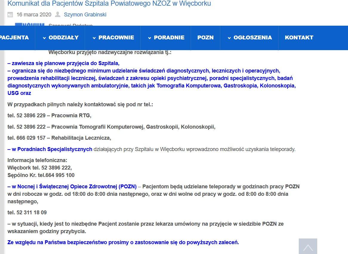 Jest wyjaśnienie władz szpitala powiatowego w Więcborku dotyczące nocnej i świątecznej opieki ambulatoryjnej