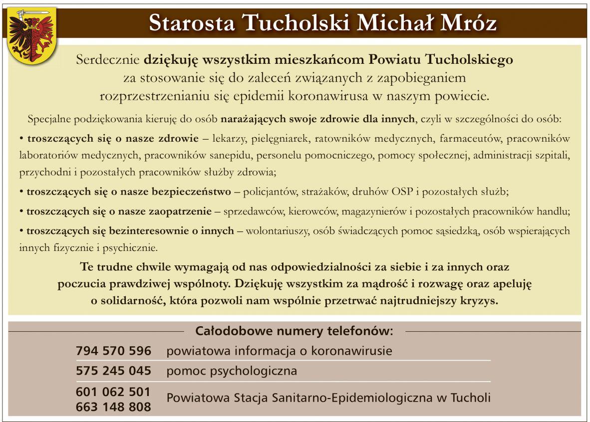 Starosta tucholski dziękuje za walkę z koronawirusem i apeluje o solidarność