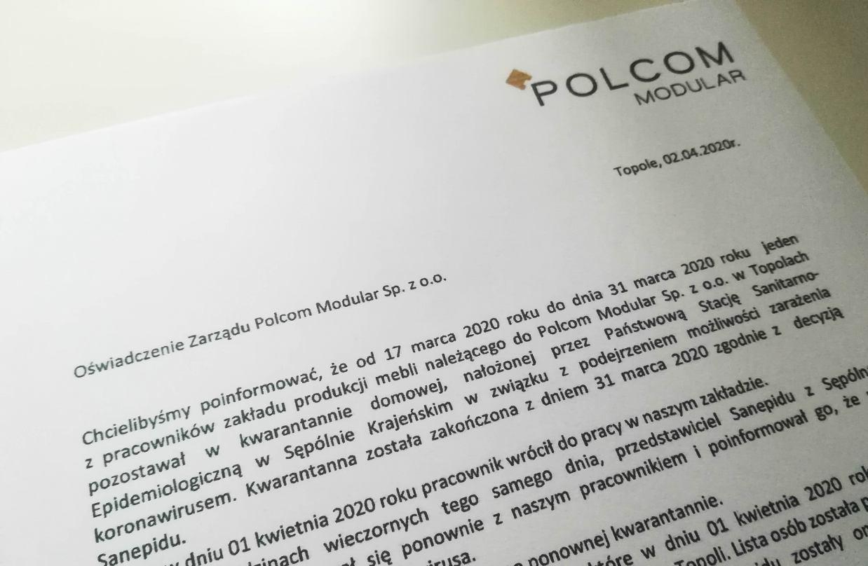 Zarząd Polcom Modular wydał oświadczenie w sprawie zakażonego koronawirusem pracownika z powiatu sępoleńskiego
