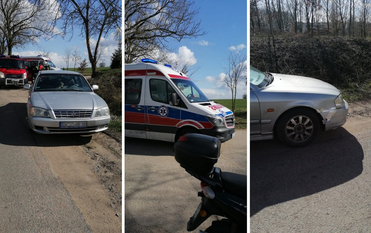 Zderzenie osobówki ze skuterem w gminie Debrzno. Jedna osoba trafiła do szpitala