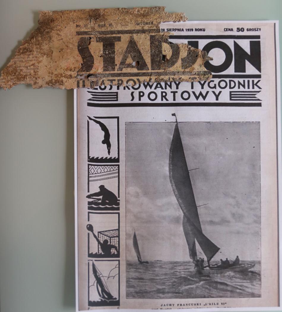 Przedwojenna gazeta Stadjon znaleziona podczas remontu w chojnickim Medyku