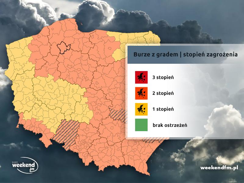 IMGW ostrzega przed burzami z gradem. Drugi stopień zagrożenia już dla całego regionu