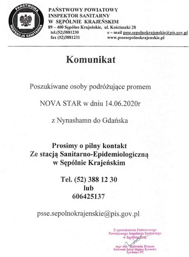 Sępoleński sanepid szuka osób, które dwa tygodnie temu wracały promem ze Szwecji do Gdańska