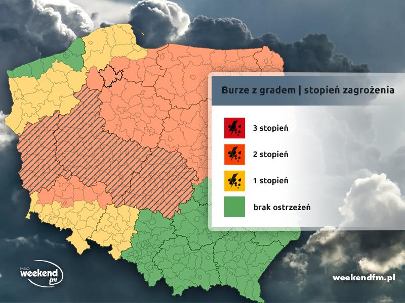 Uwaga na burze z gradem. IMGW podwyższa alert pogodowy dla powiatów w regionie