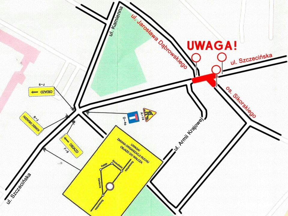 Od piątku 17.07 nieprzejezdna będzie częściowo ulica Szczecińska w Człuchowie. Utrudnienia potrwają przez tydzień