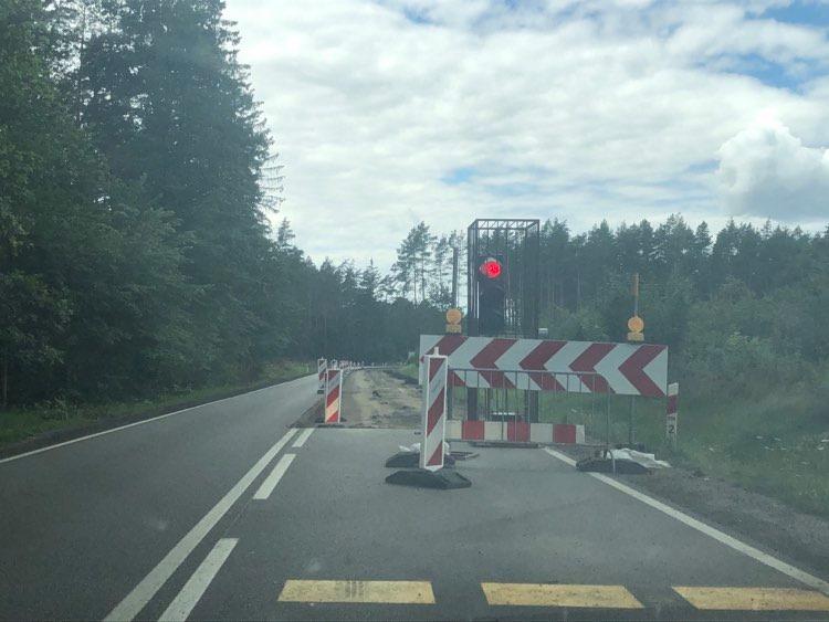 Rozbudowa drogi krajowej nr 20 na odcinku Korne - Kościerzyna są utrudnienia w ruchu
