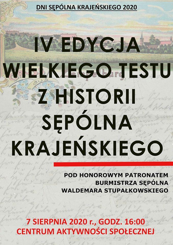 Dziś 7.08. kolejna edycja testu z wiedzy o Sępólnie Krajeńskim