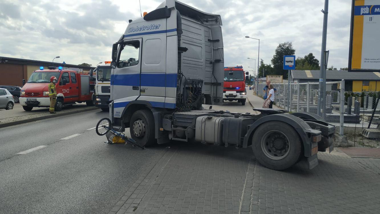 Potrącenie rowerzysty na ulicy Kościuszki w Sępólnie Krajeńskim