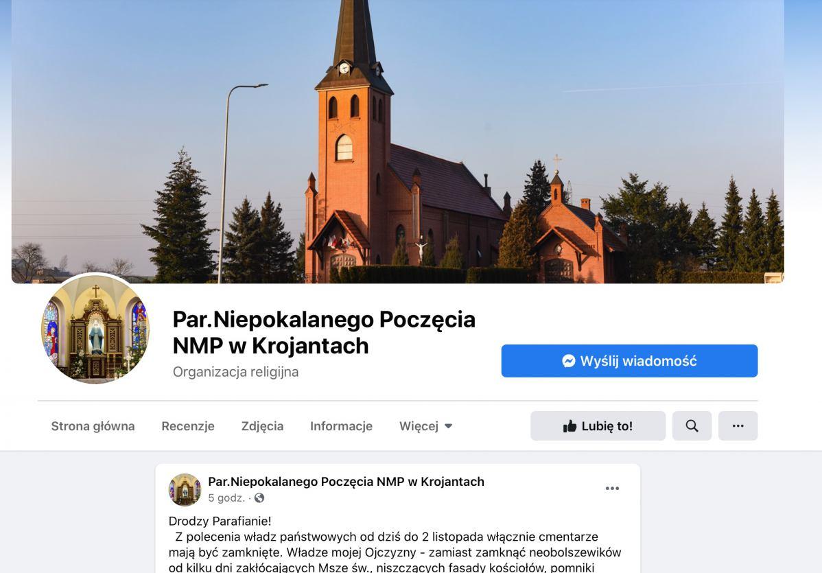 Proboszcz parafii w Krojantach nie zamknie furtki cmentarza. &bdquoNie mogę! w imię duchowego dobra zmarłych i żyjących&rdquo