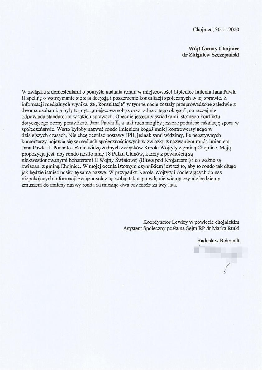 Apel chojnickiej Lewicy w sprawie pomysłu nazwania ronda w Lipienicach imieniem Jana Pawła II