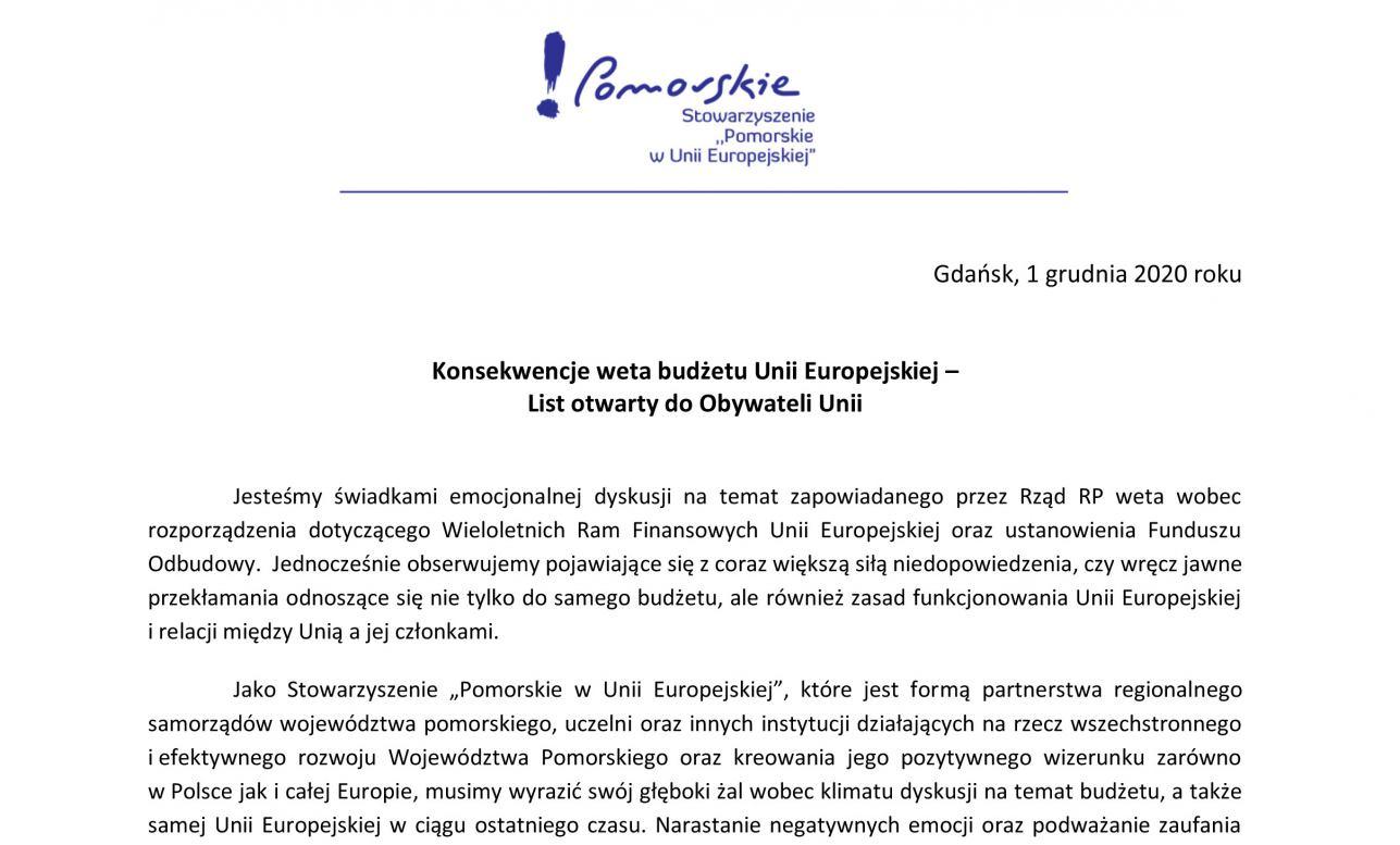 Starostowie chojnicki i człuchowski oraz burmistrz Chojnic podpisali list otwarty do Obywateli Unii Europejskiej