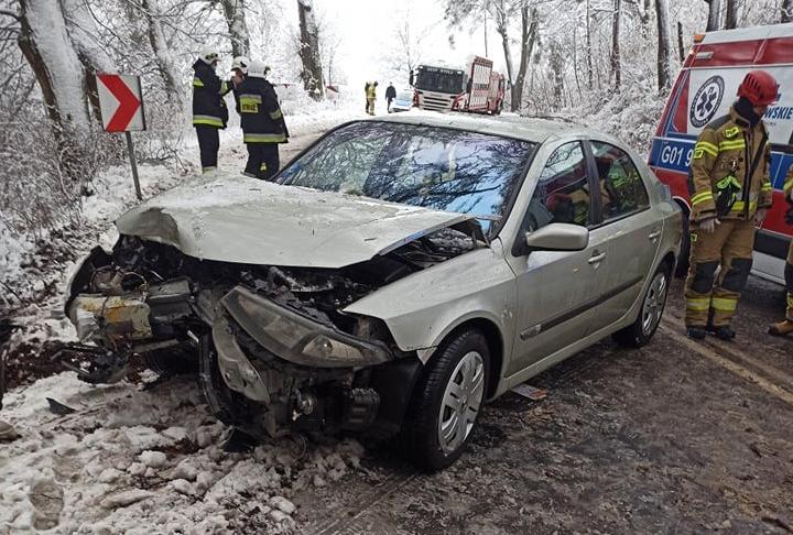 Auto uderzyło w drzewo, pasażerka trafiła do szpitala. Policja samochód poruszał się na letnich oponach