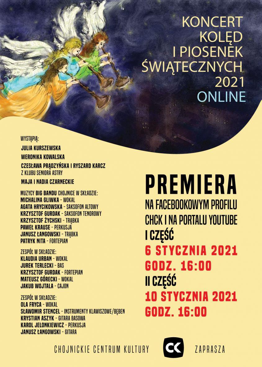 Chojnickie Centrum Kultury zaprasza na koncert kolęd i pastorałek w wersji online