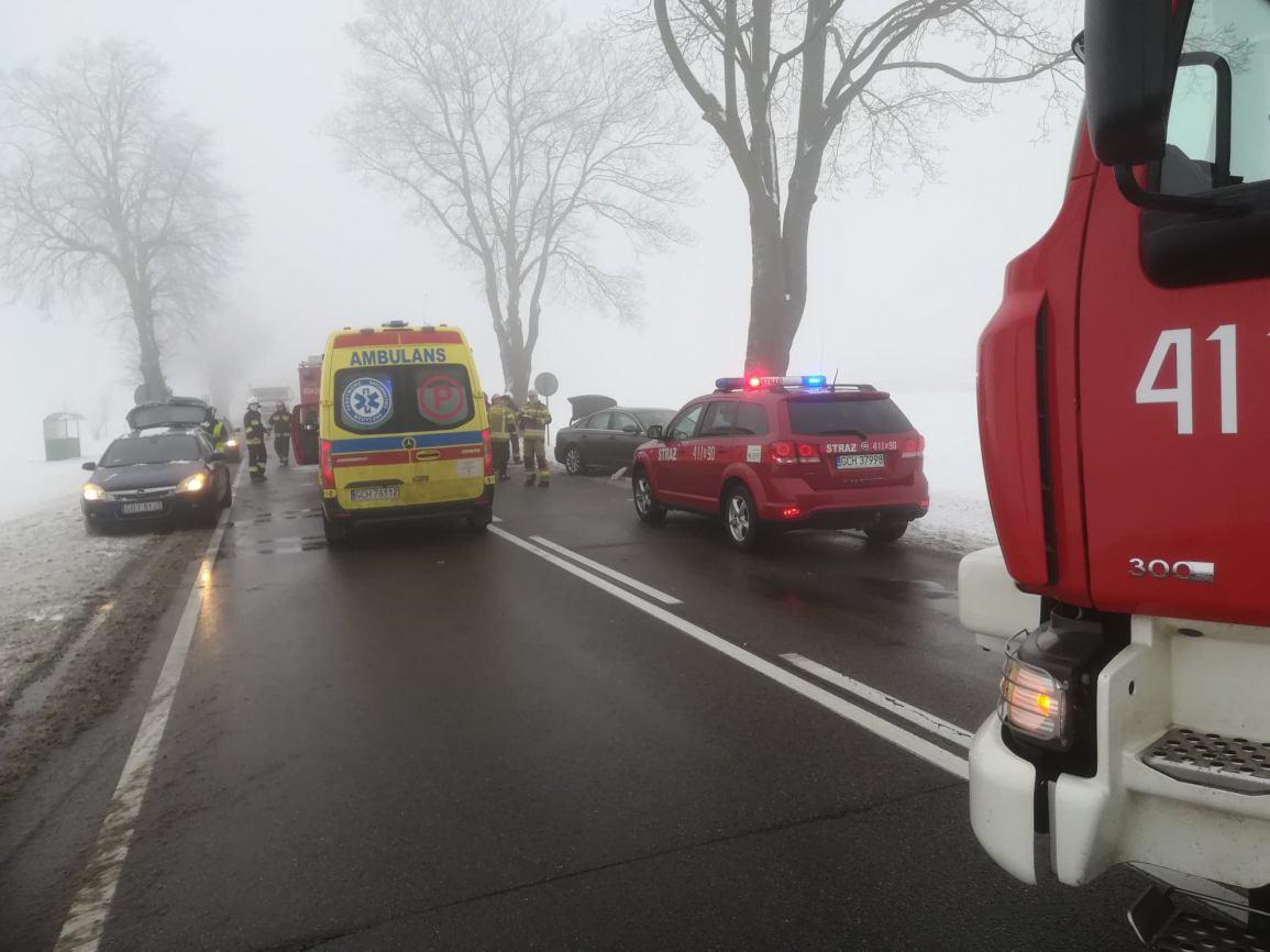 Wypadek na drodze krajowej 22 Chojnice-Czersk. Osobowe auto uderzyło w drzewo w pobliżu Jeziorek
