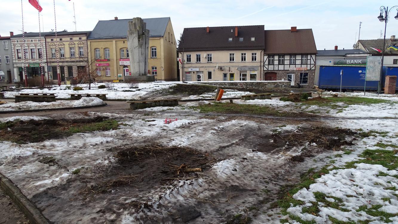 Z Placu Wolności w Sępólnie Krajeńskim zniknęły wszystkie drzewa. Wycięto ich 29 FOTO