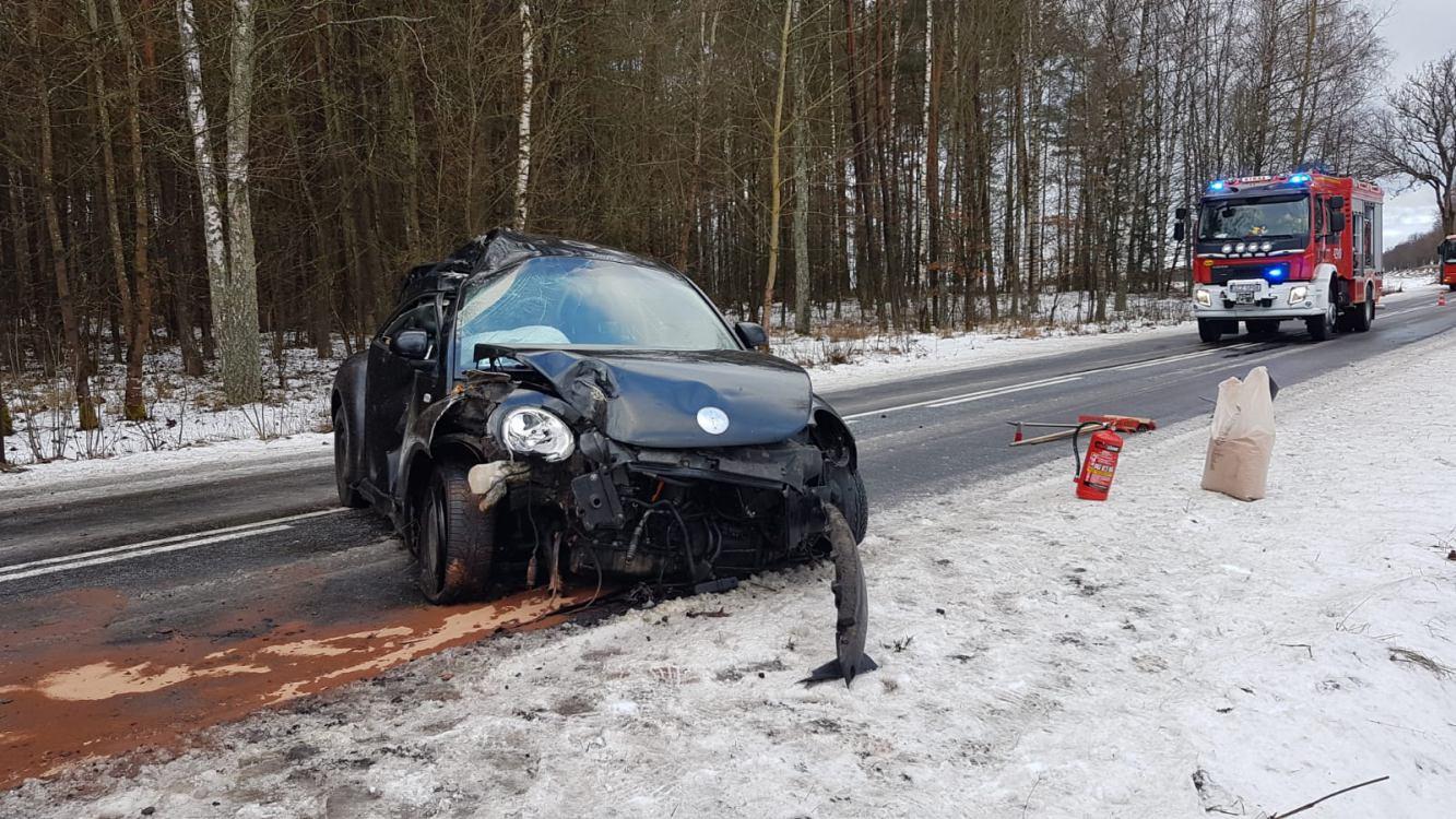 W okolicach Bińcza na drodze wojewódzkiej nr 201 Barkowo-Czarne samochód uderzył w drzewo FOTO