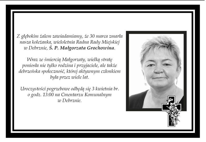 Zmarła Małgorzata Grochowina, wieloletnia radna z Debrzna