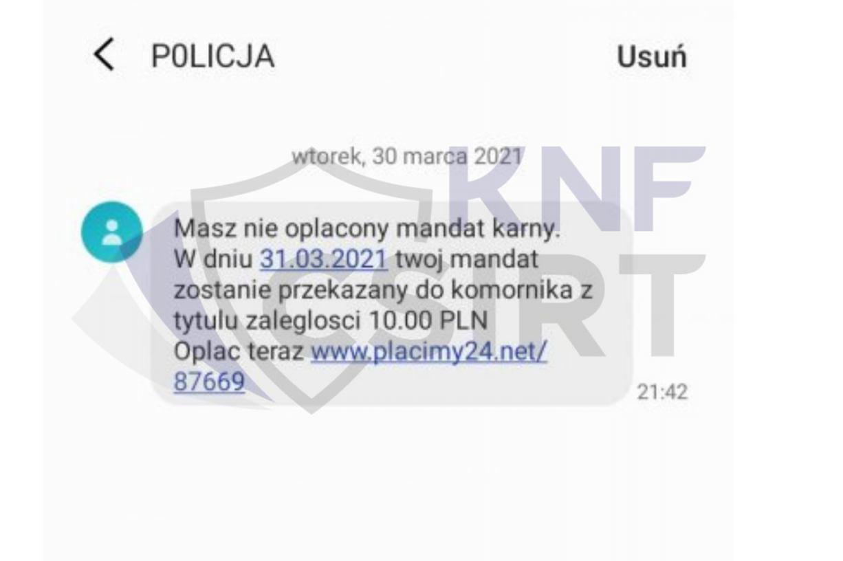 Policja przestrzega przed smsami o nieopłaconym mandacie. Apeluje, by nie klikać w załączony link
