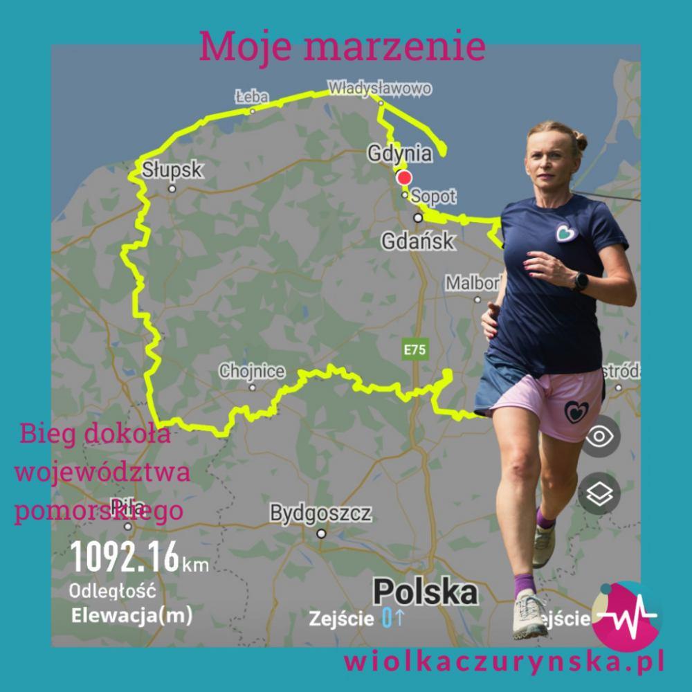 Wiolka Czuryńska z Gdyni biegnie dookoła województwa pomorskiego. W środę była w Debrznie