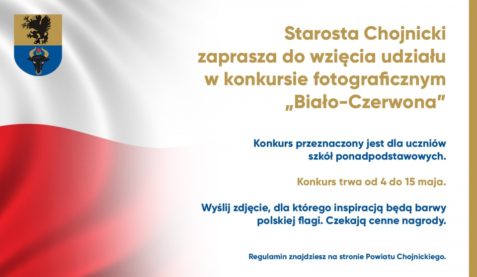 Biało-czerwona - to tytuł konkursu fotograficznego dla młodzieży w powiecie chojnickim