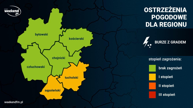 Uwaga na burze z gradem. IMGW wydał żółte alerty dla powiatów sępoleńskiego i tucholskiego