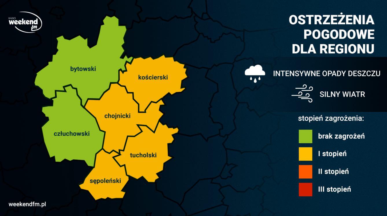 Intensywne opady deszczu i silny wiatr. W niedzielę pogoda w regionie może być niebezpieczna