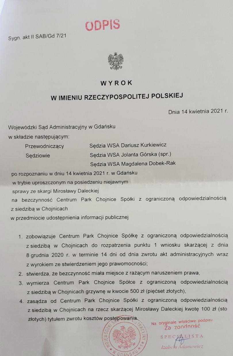 Centrum Park w Chojnicach musi rozpatrzyć wniosek radnej w sprawie umowy z wicestarostą chojnickim