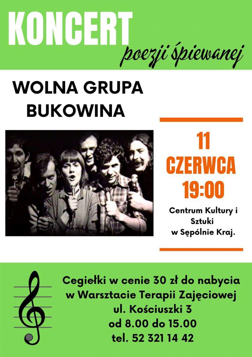 11 czerwca w Sępólnie Krajeńskim odbędzie się charytatywny koncert Wolnej Grupy Bukowina na rzecz miejscowych WTZ