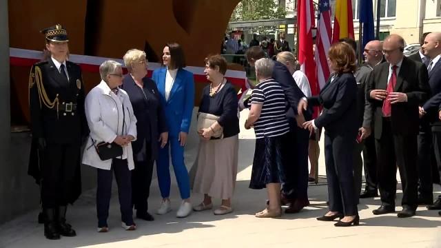 W Warszawie odsłonięto pomnik Solidarności. W uroczystości wzięła udział S. Cichanouska