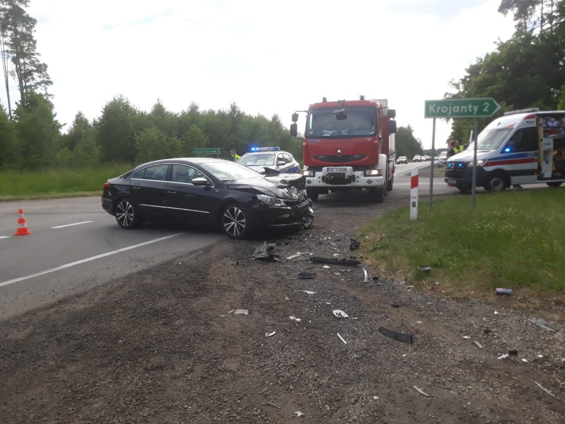 Dwie osoby poszkodowane w wypadku na drodze krajowej nr 22 w Krojantach pod Chojnicami