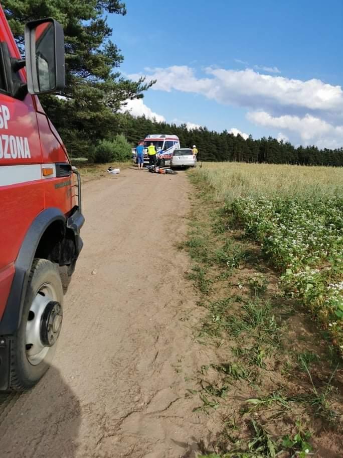 Wypadek z udziałem motocyklisty. Do zdarzenia doszło w niedzielę w gminie Lipnica