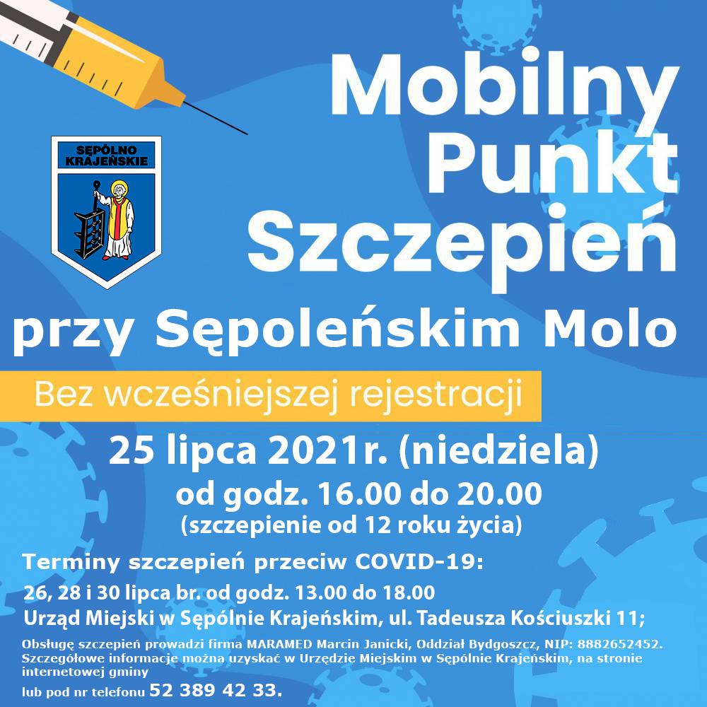 W najbliższą niedzielę przy molo w Sępólnie Krajeńskim ponownie stanie mobilny punkt szczepień